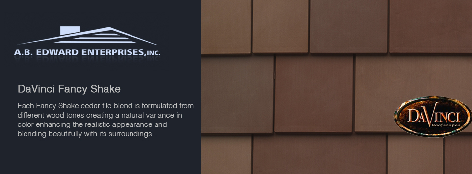 Davinci synthetic slate shake a b edward enterprises Davinci roofing products